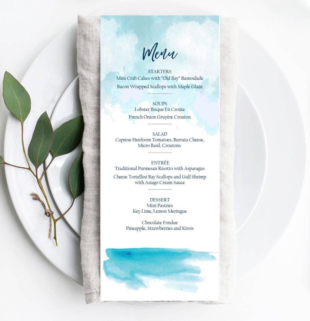 editable ocean or beach event menu