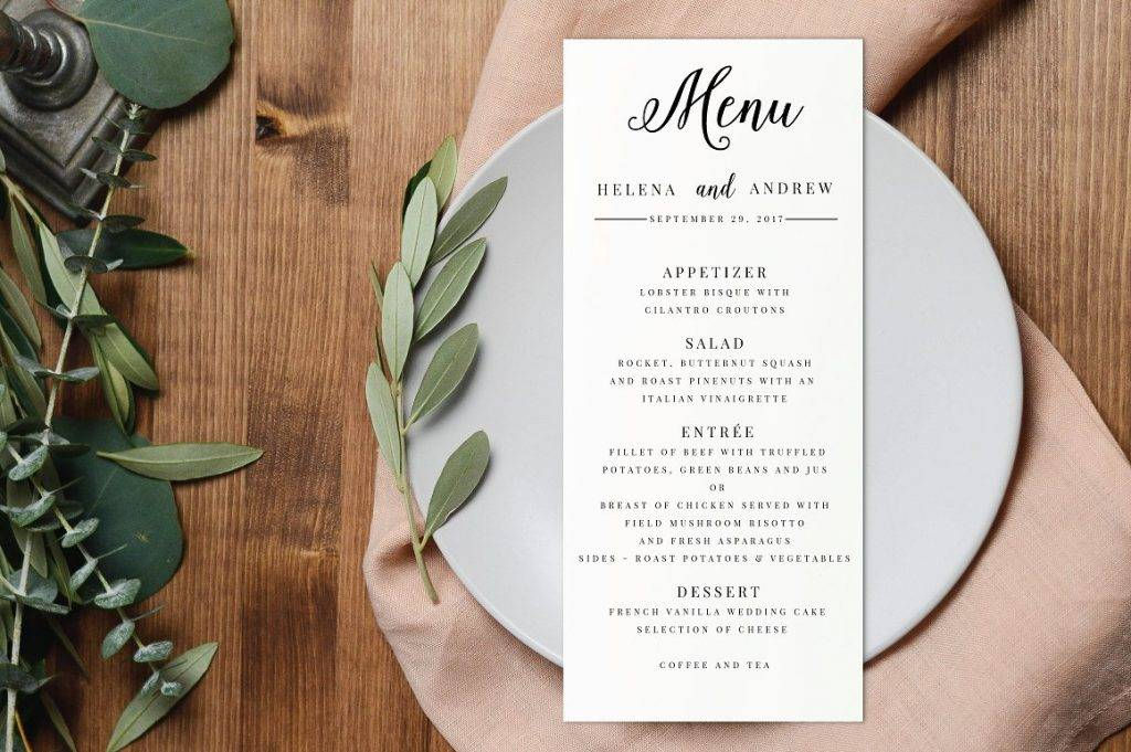 editable printable wedding menu example1