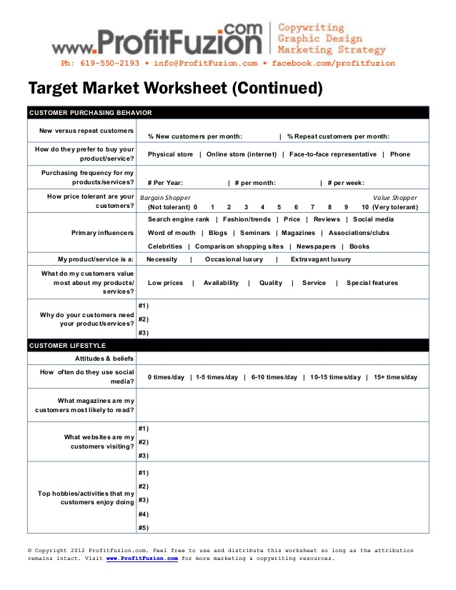 editable sample target market worksheet