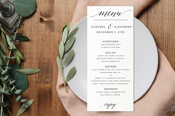 editable wedding menu card example