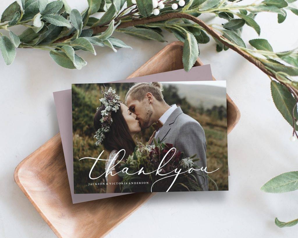 editable wedding thanks photo card example