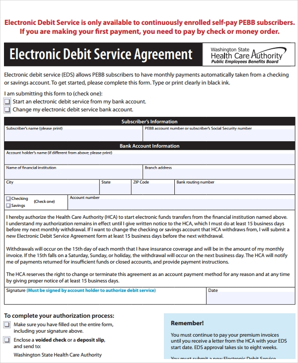 electronic debit service agreement