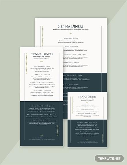 elegant baby shower menu template