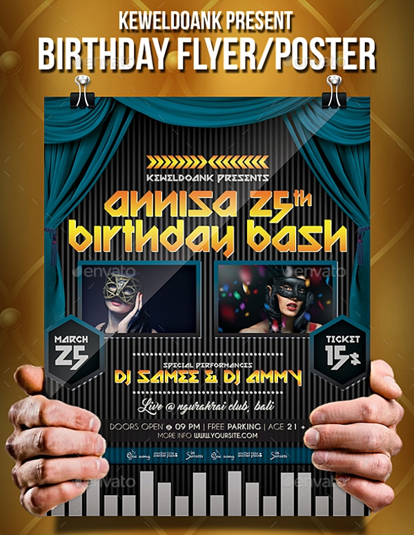 elegant birthday flyer or poster
