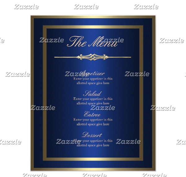 elegant blue gold birthday menu example1