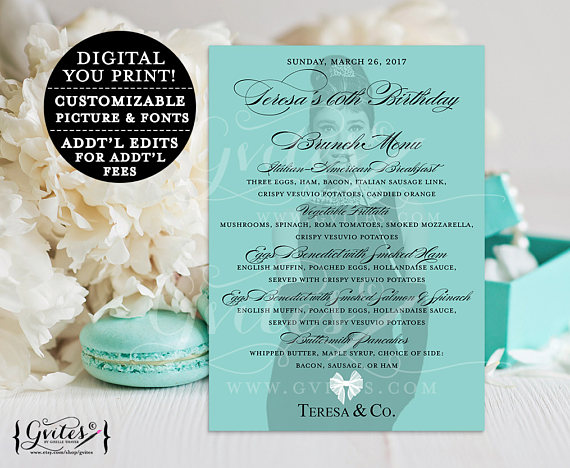 elegant breakfast at tiffanys menu example