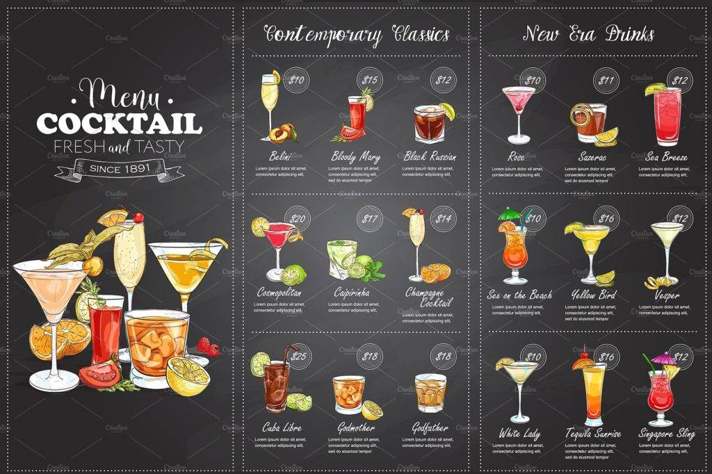 elegant chalkboard cocktail menu example
