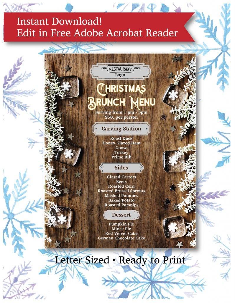 elegant christmas brunch menu example