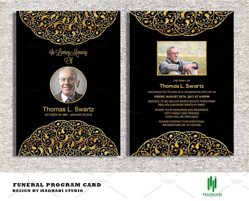 elegant funeral announcement or invitation example