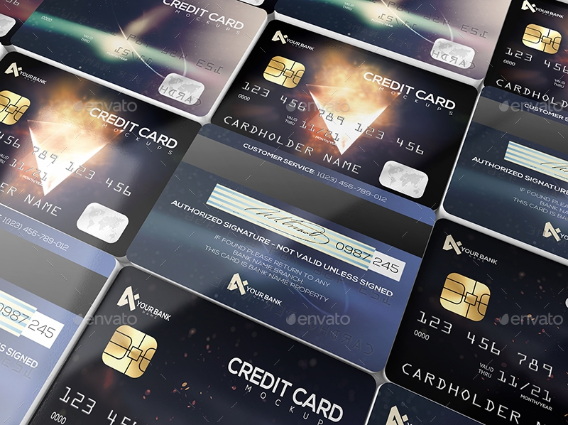 elegant membership card or credit card mockup