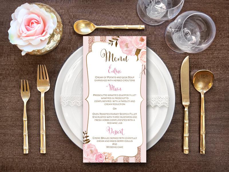 elegant rose gold wedding menu example