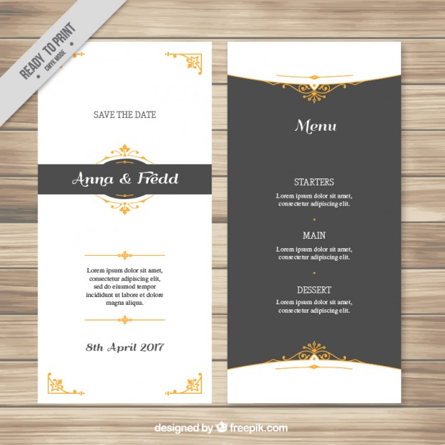 elegant wedding menu example