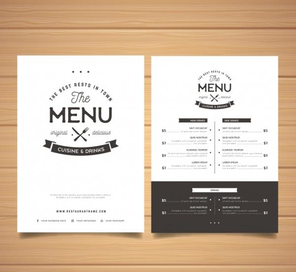 elegant black and white dinner menu