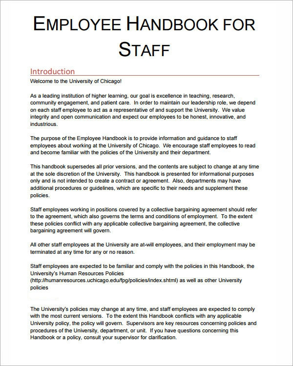 employee handbook staff policy example