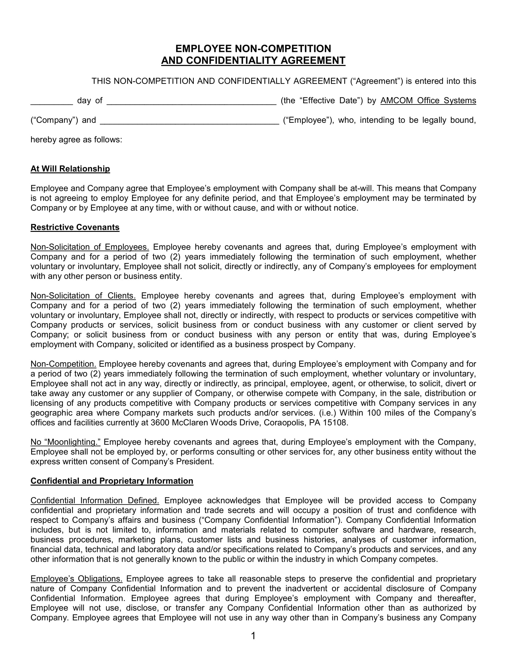 employee non competition and confidentiality agreement