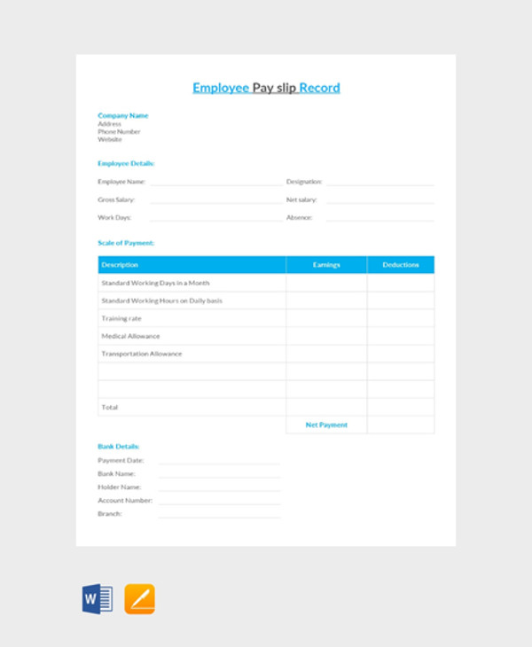 10 Salary Slip Examples PDF Word