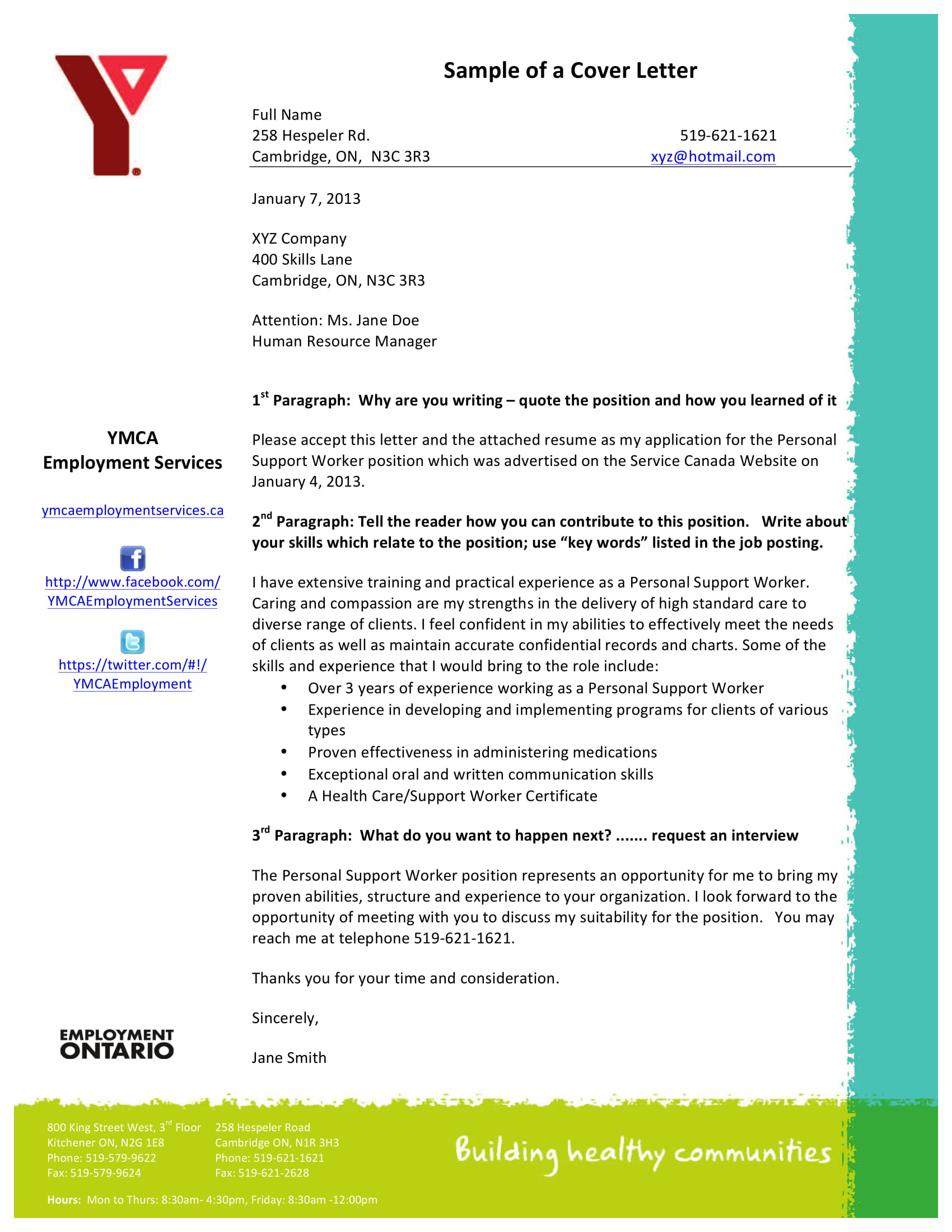 employment cover letter template example 1