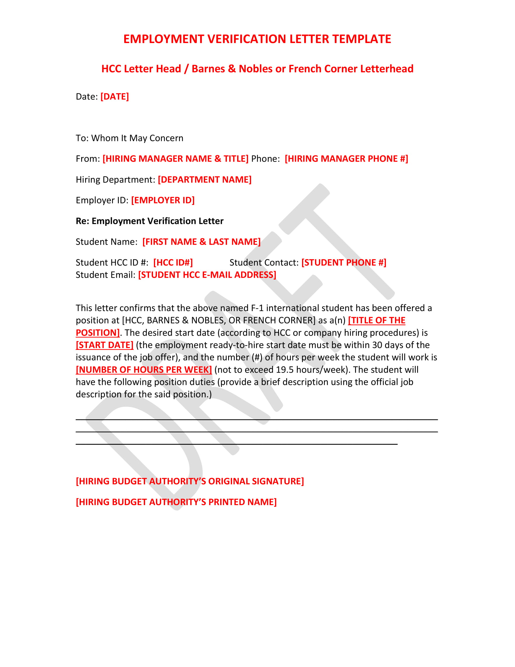 employment verification letter template example1