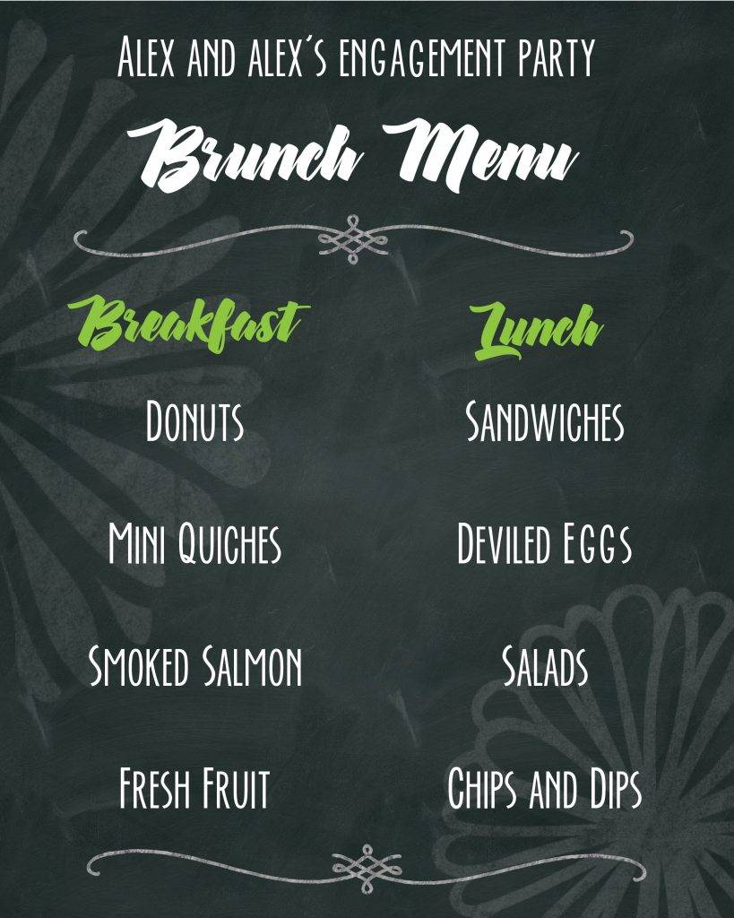 engagement chalkboard menu example