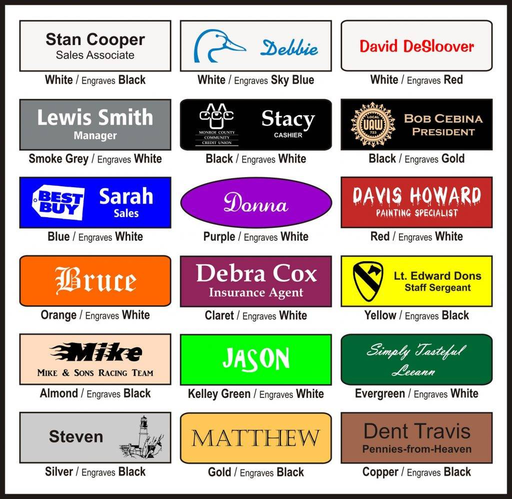 engraved name badge designs