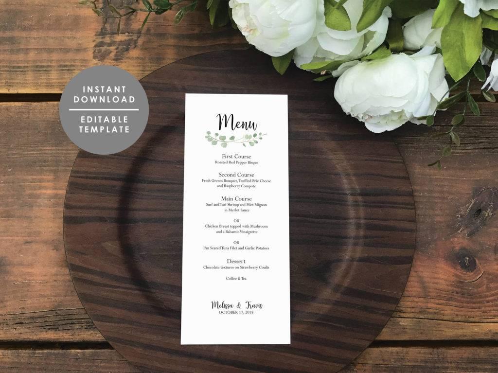 eucalyptus printable wedding menu example1