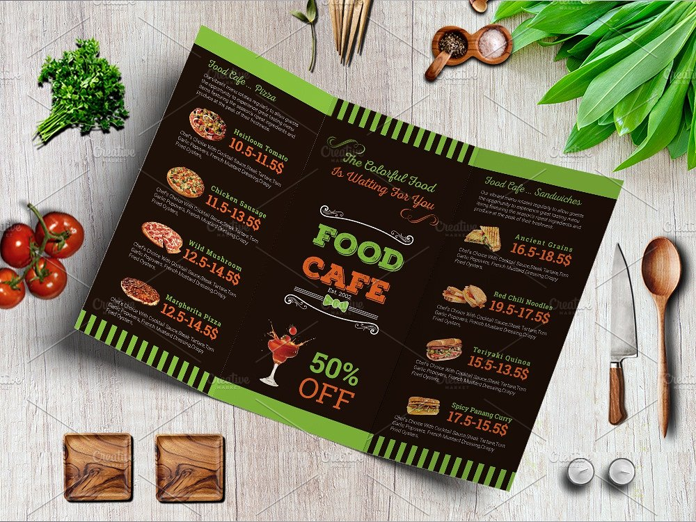 european inspired restaurant menu design example