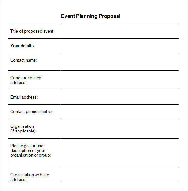event brief planning proposal example