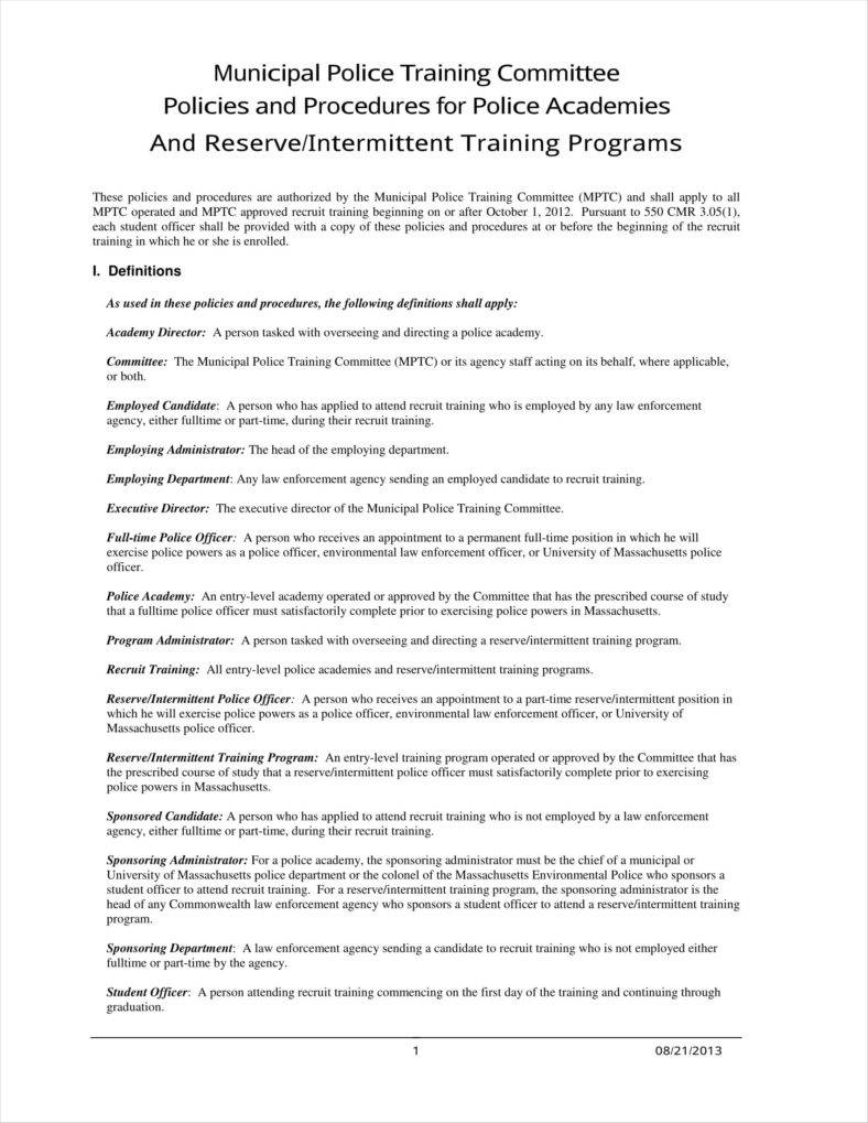 example of police training policy template