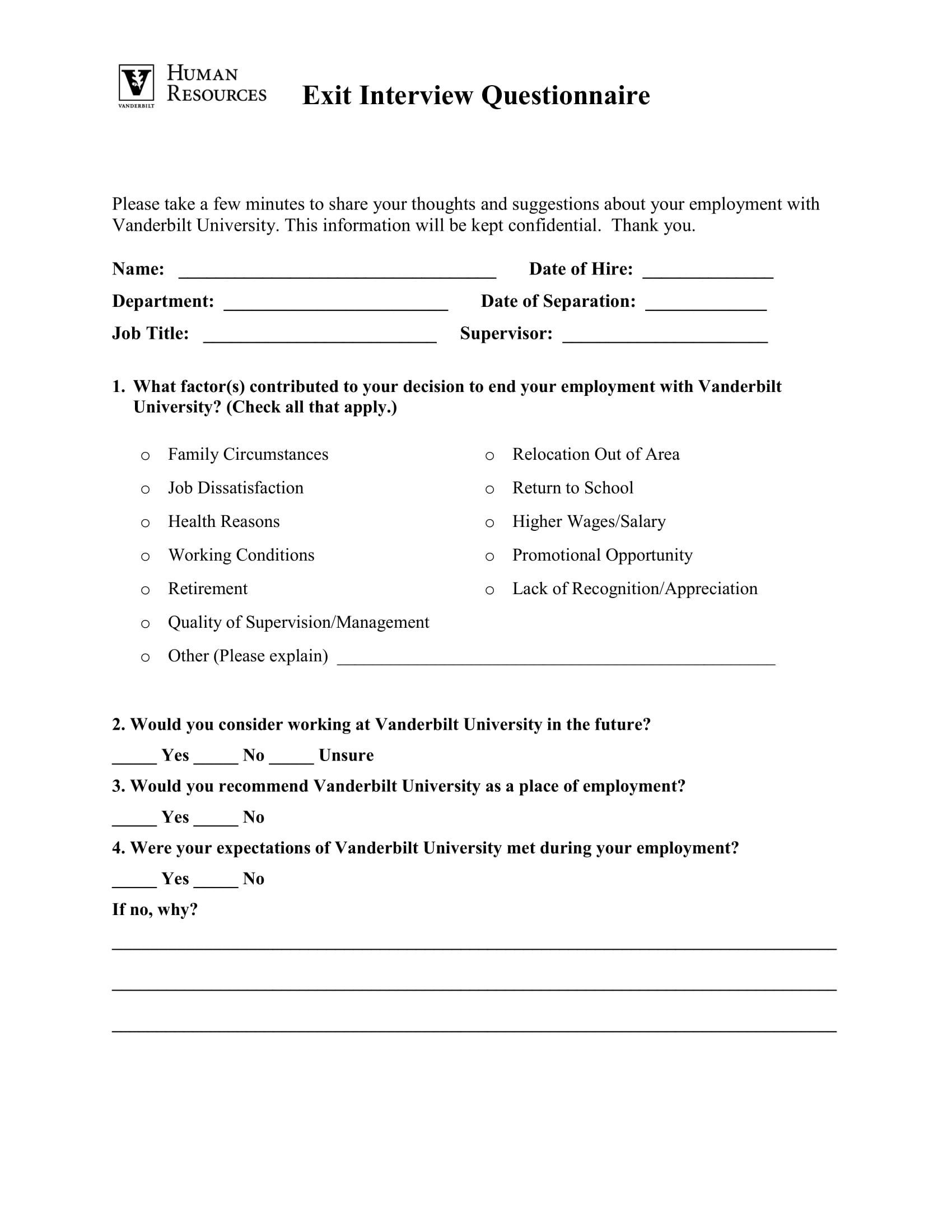 10  employee exit questionnaire examples