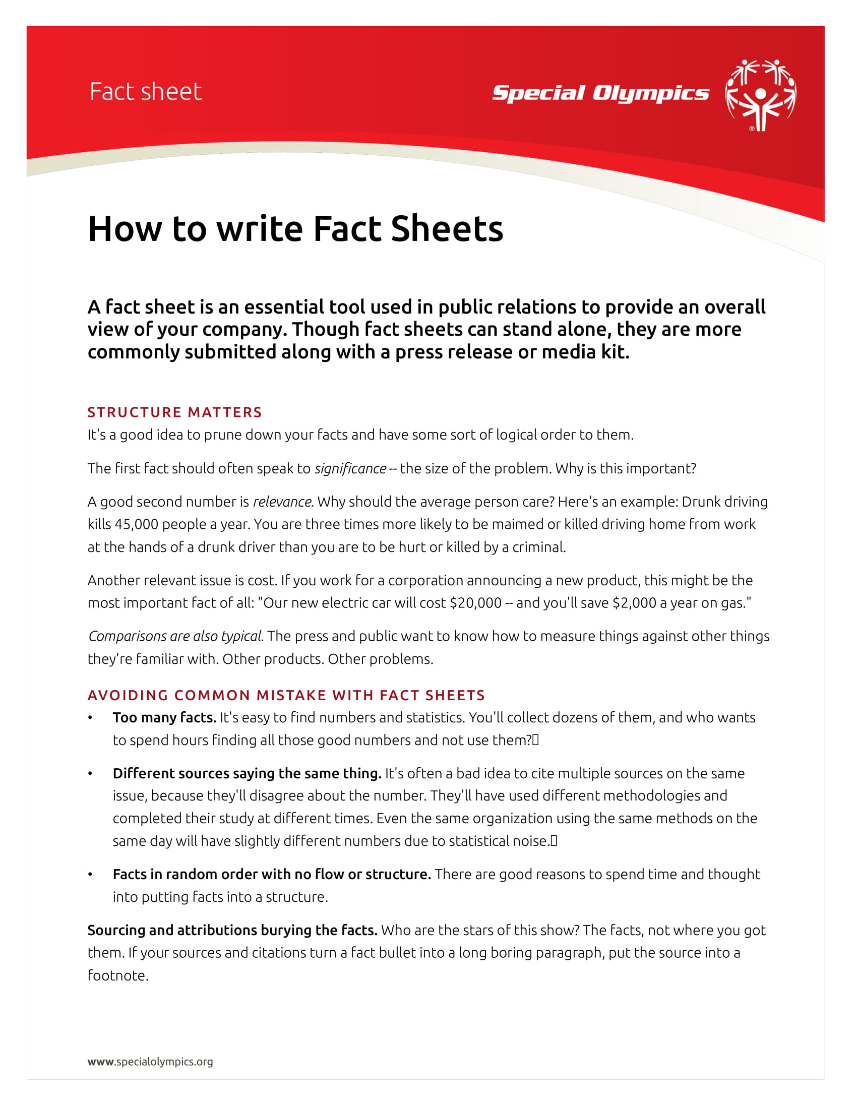 how to produce a fact sheet