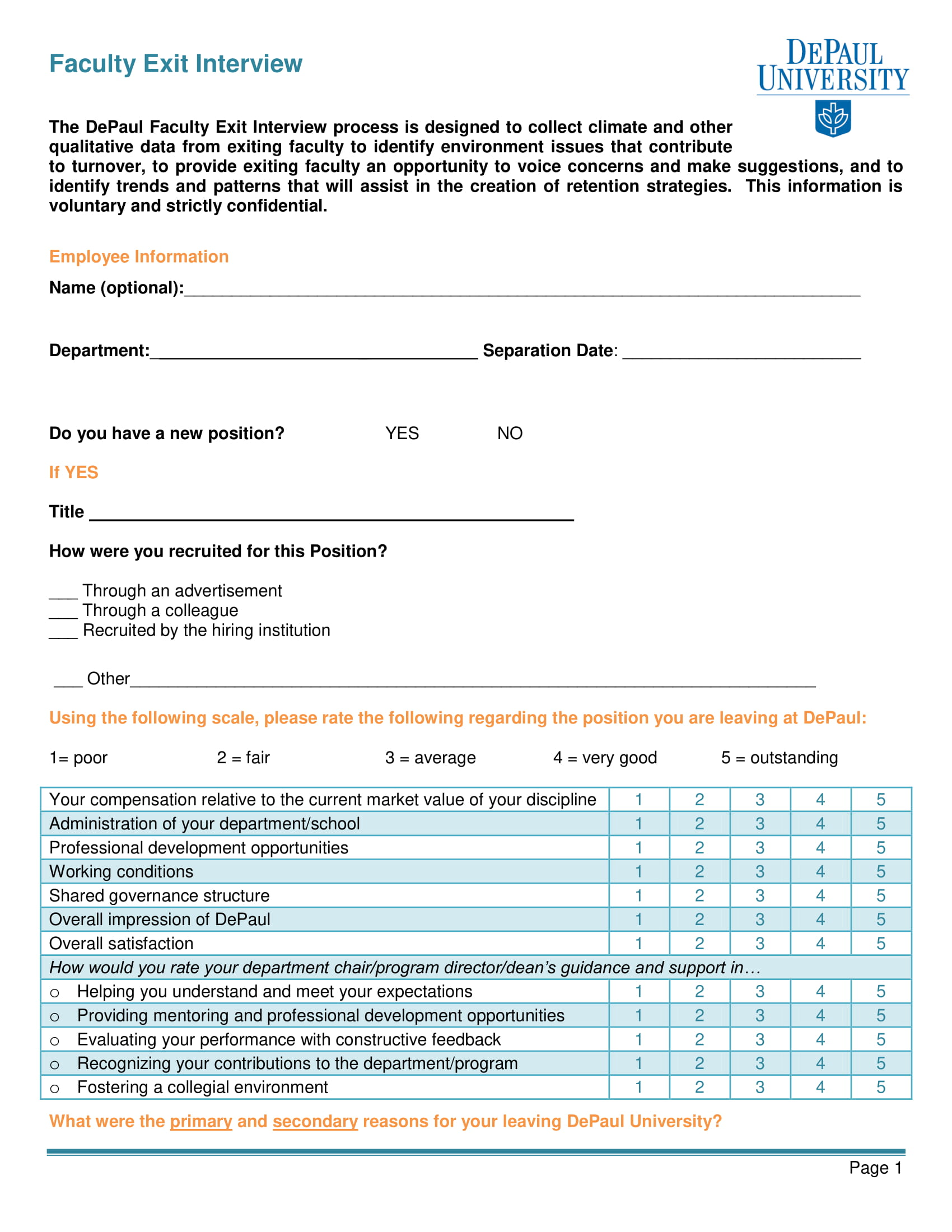 faculty exit interview survey questionnaire example