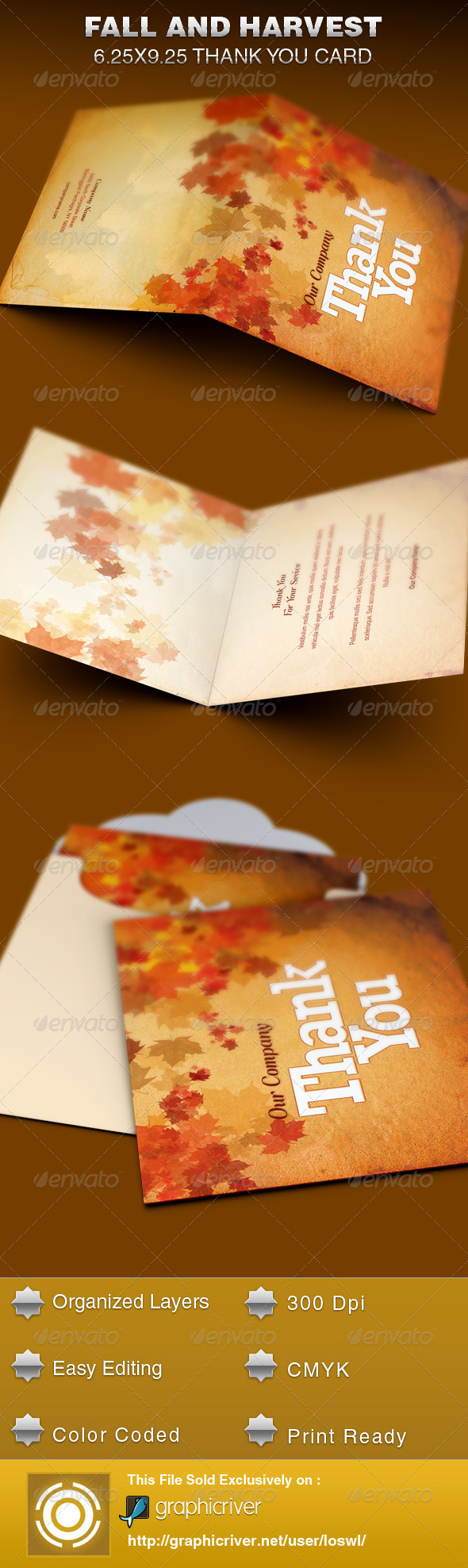 fall and harvest thank you card template example