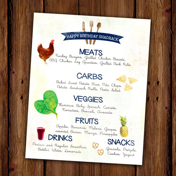farm theme birthday menu example