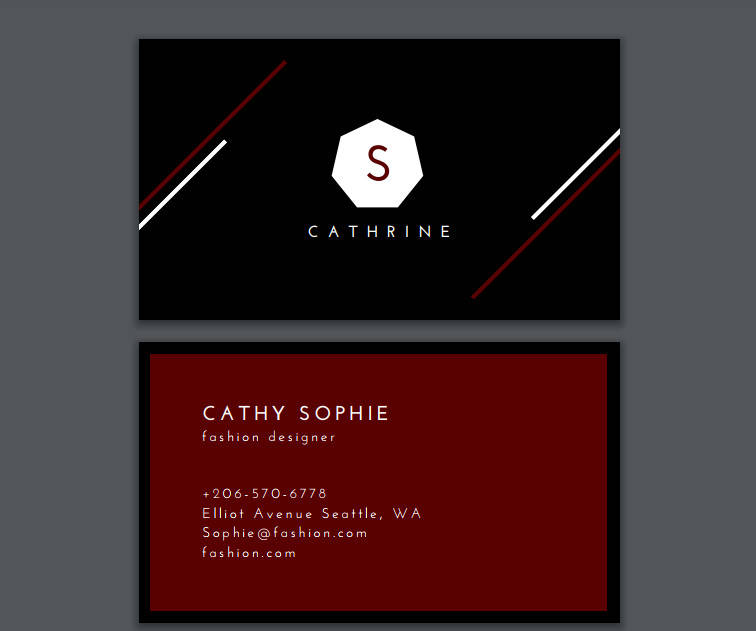 fashion designer black and dark red scarlet minimalist business card