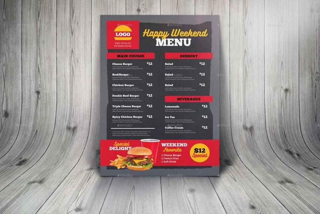 fast food burger drive through menu example