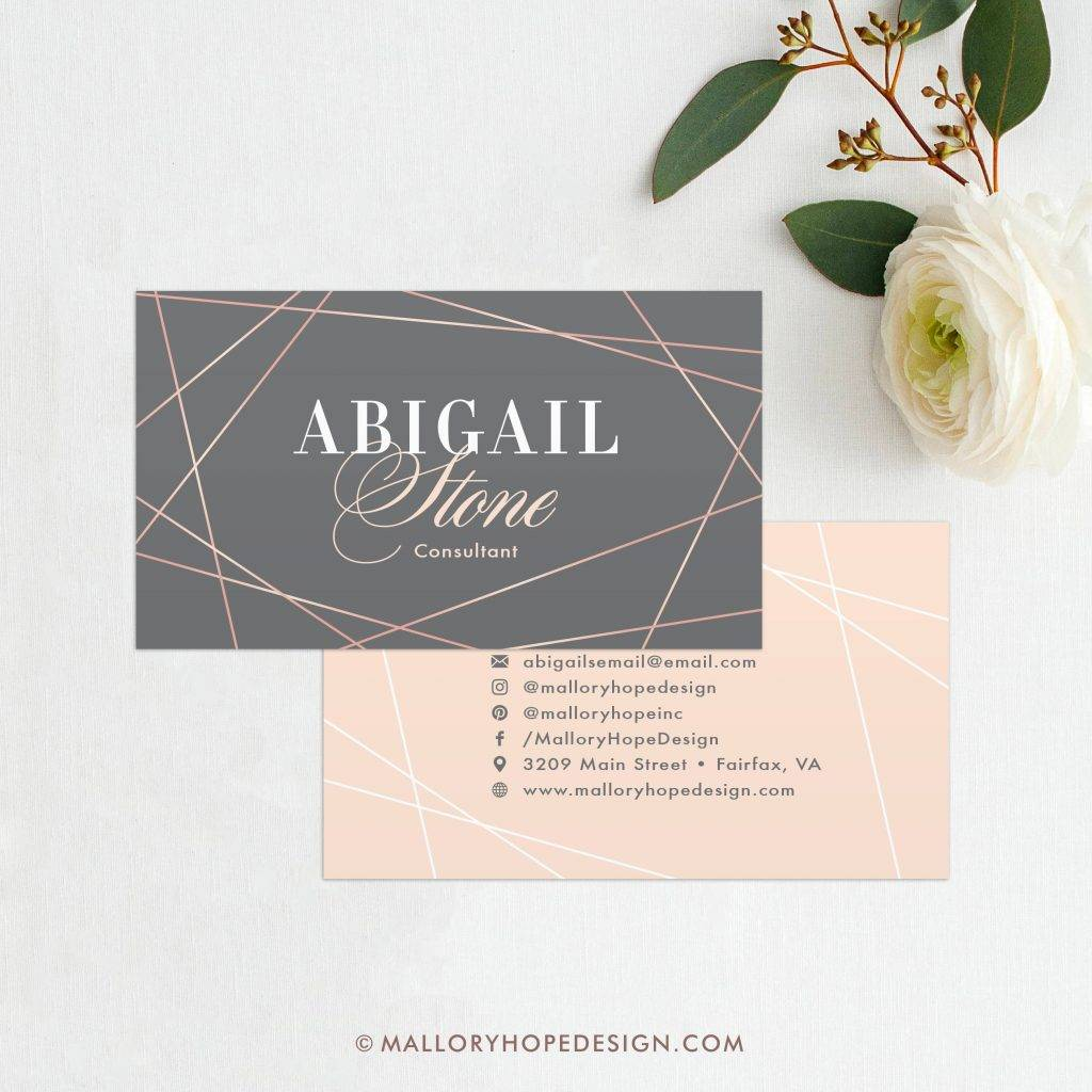 faux rose gold geometric interior designer business card
