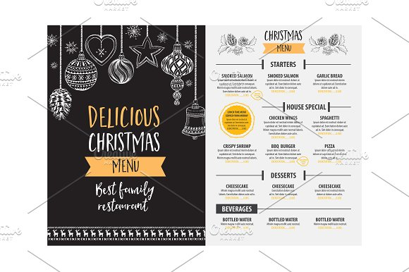 festive holiday decorations menu example
