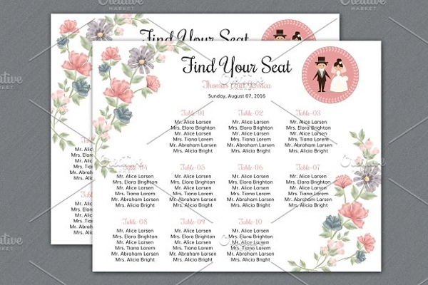 find your seat chart template example