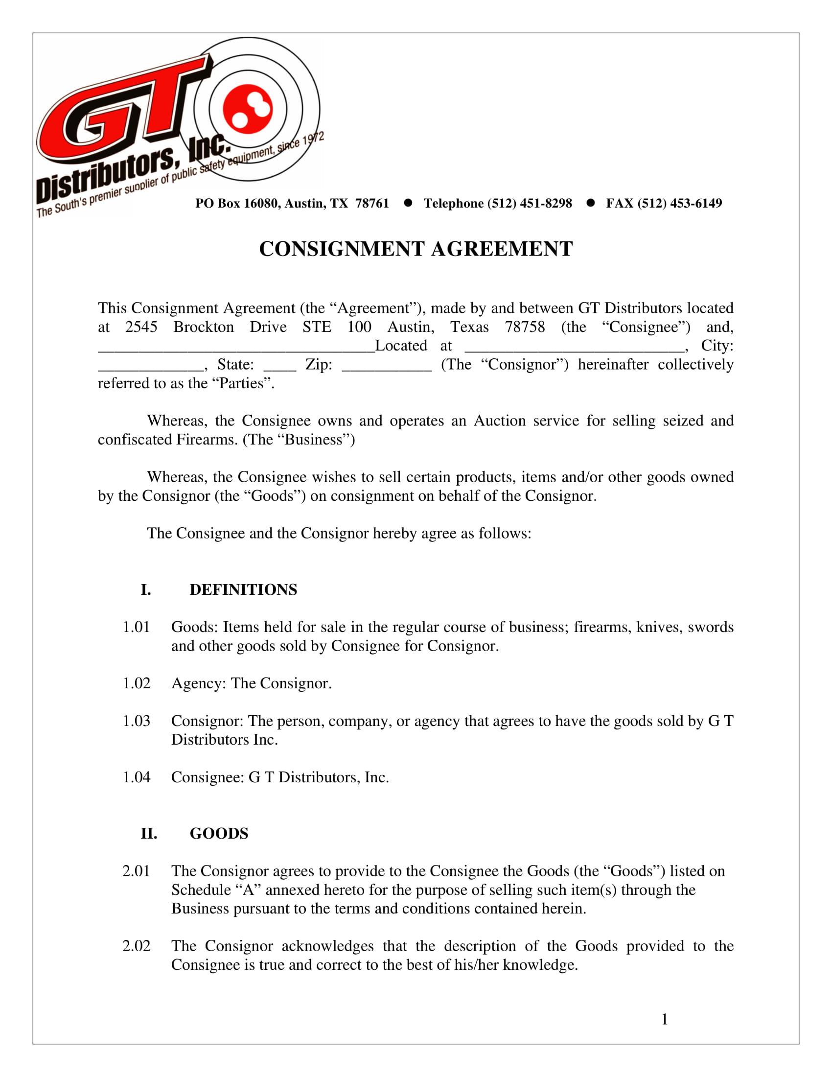 firearms selling consignment agreement example