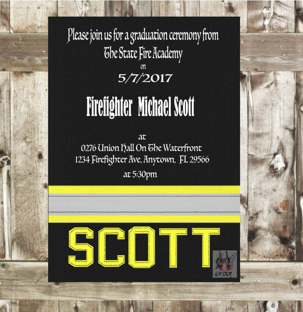 firefighter promotional invitation and announcement example