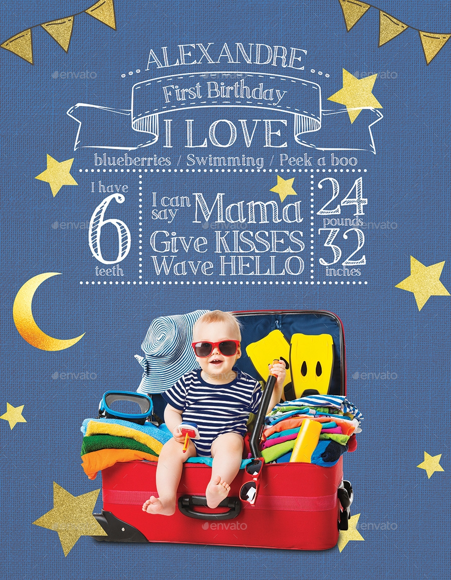 first birthday template for flyer or poster