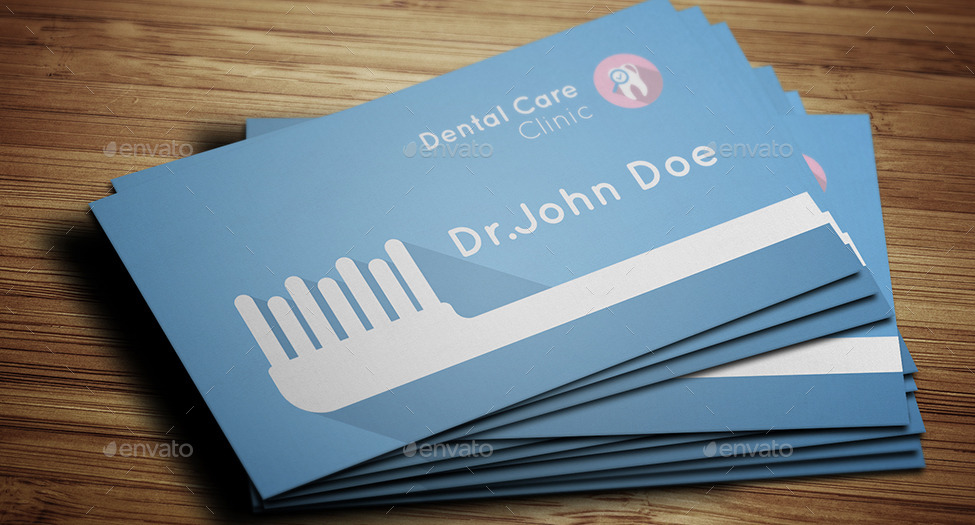 flat dentist business card example