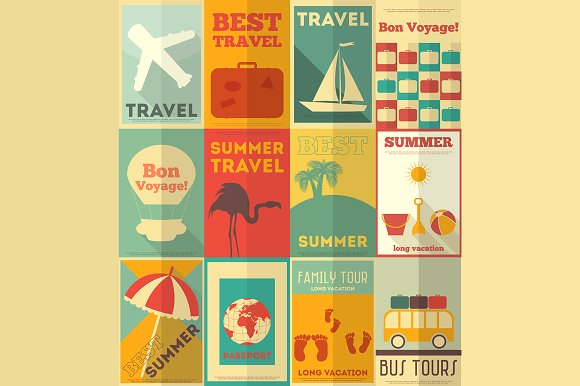 flat travel posters example