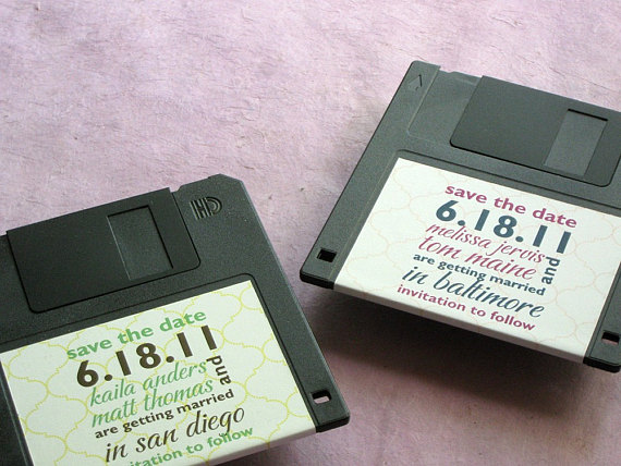 floppy disk save the date label example