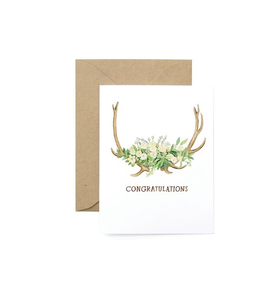 floral antler congratulations greeting card example