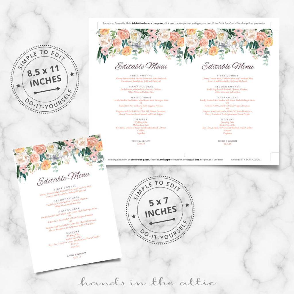 floral buffet menu design