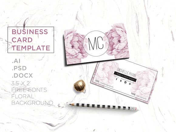 floral business card template example