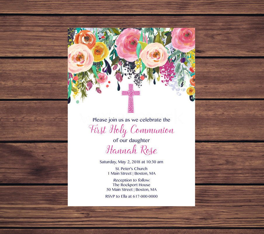 floral design first communion invitation