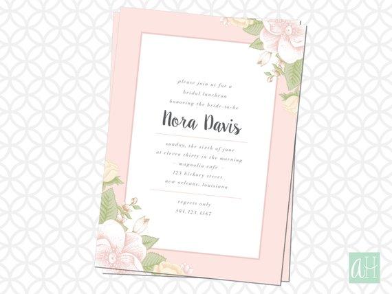 floral edged bridal luncheon invite