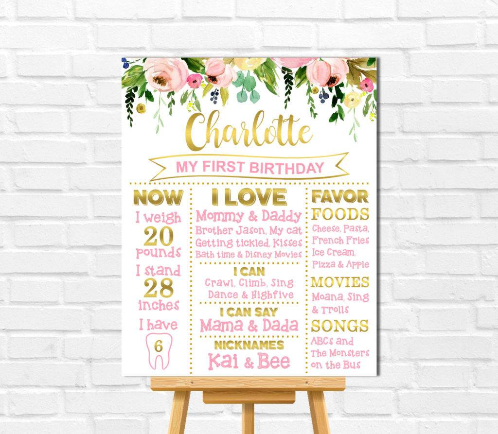 floral first birthday poster board